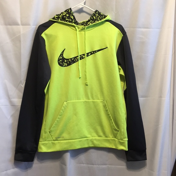 Nike Therma Fit Neon and Camo Swoosh Hoodie